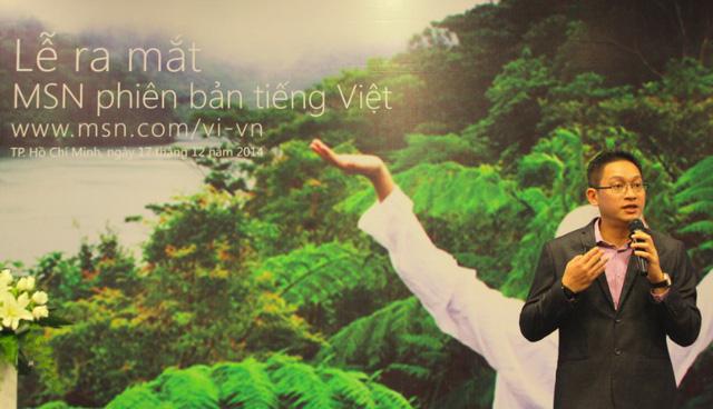 Ông Vũ Minh trí phát biểu tại lễ ra mắt MSN phiên bản tiếng Việt