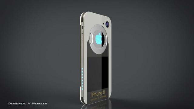 Chiếc smartphone nổi bật với logo Apple phát sáng giống như lò phản ứng hồ quang mini