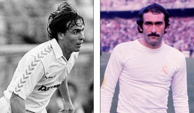 Losada (trái) và Pirri - những người ghi bàn thứ 500 và 300 cho Real Madrid