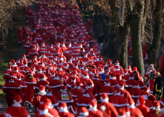 Hàng nghìn người trong trang phục ông già Noel tham gia thi chạy ở Michendorf, Đức. (Nguồn: AP)