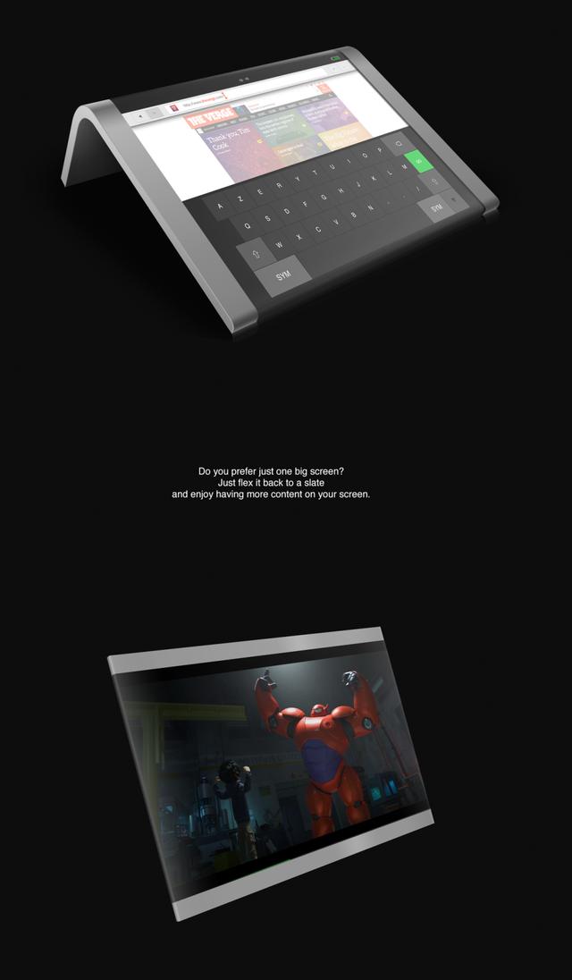 Đặt nằm máy xuống, người dùng sẽ có một bàn phím cảm ứng khá lớn với góc nghiêng 40 độ. Ngoài ra người dùng có thể uốn màn hình trở lại dạng bảng để thưởng thức những bộ phim đặc sắc