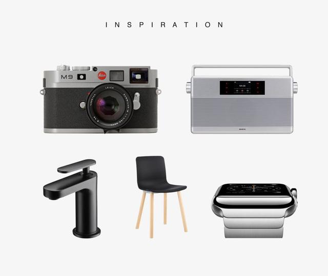 Robrecht Vanhauwere đã lấy cảm hứng từ chiếc máy ảnh Leica, đài radio, một vòi nước, chiếc ghế thời trang và chiếc Apple Watch