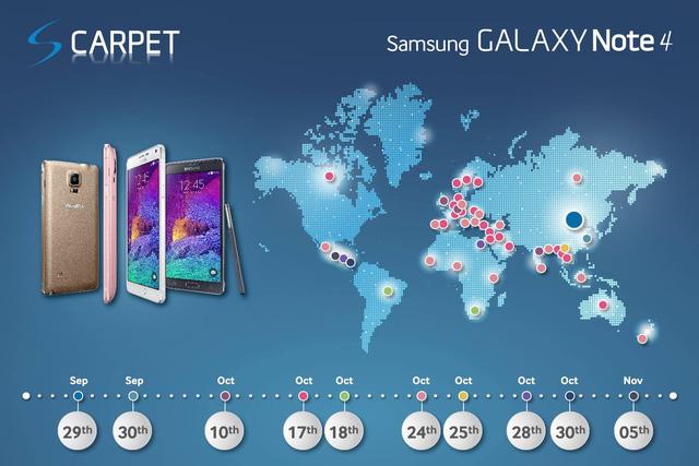 Samsung công bố lịch phát hành Galaxy Note 4