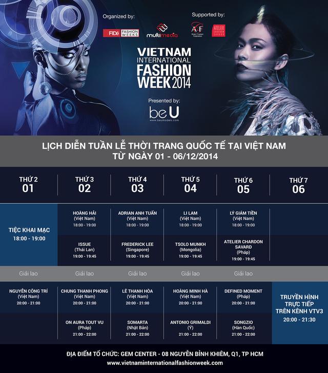 Lịch trình diễn của Vietnam International Fashion Week 2014