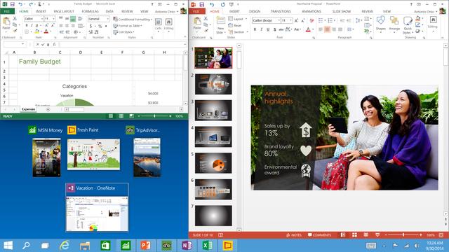 Windows 10 cho phép chạy song song 4 ứng dụng trên cùng một màn hình