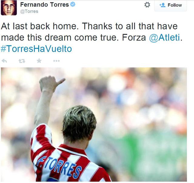 Torres bày tỏ niềm vui khi được trở về Atletico trên Twitter