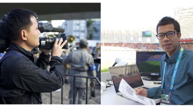 Quay phim Mạnh Việt (phải) và phóng viên Tuấn Đức (trái) - một ê-kíp của Trung tâm SXCCTTT tác nghiệp tại World Cup 2014 vừa qua