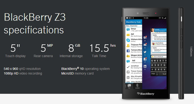 Chiếc BlackBerry Z3 được Dâu Đen giới thiệu hồi tháng 5