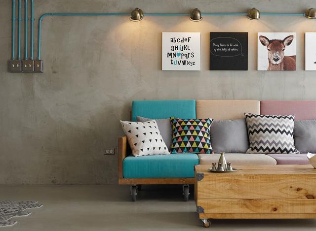 Sofa với những gam màu tươi tắn, thể hiện rõ tính cách hướng ngoại của gia chủ
