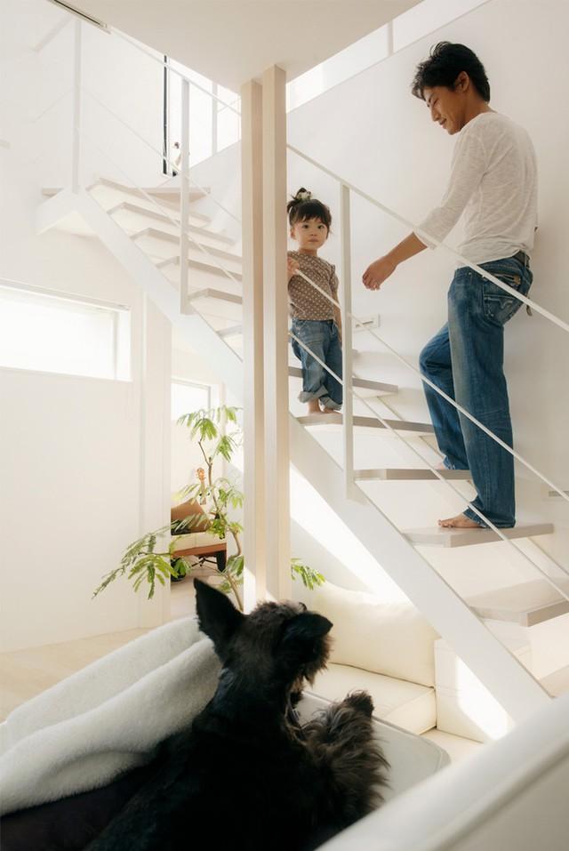 Cầu thang lên gác hai được thiết kế đơn giản, dễ dàng cho các bé leo trèo