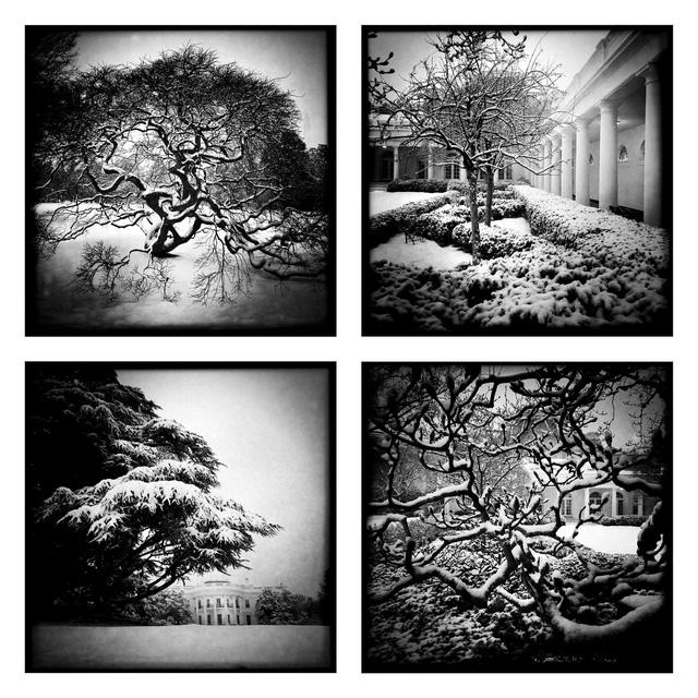 Khung cảnh tuyết bên ngoài Nhà Trắng khi sử dụng ứng dụng Hipstamatic