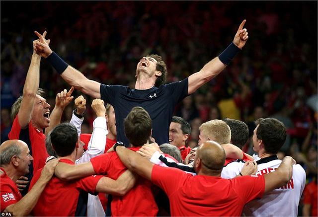 Niềm vui chiến thắng của Murray và các đồng đội ĐT Vương quốc Anh