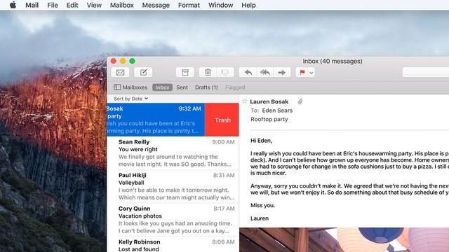 Vuốt để thao tác nhanh trên ứng dụng Mail