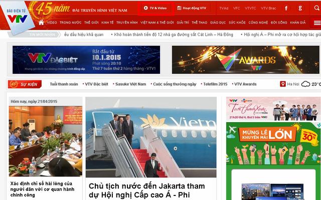 Độc giả nhấn vào mục TV&Video ở phía trên cùng của trang chủ Báo điện tử VTV News.