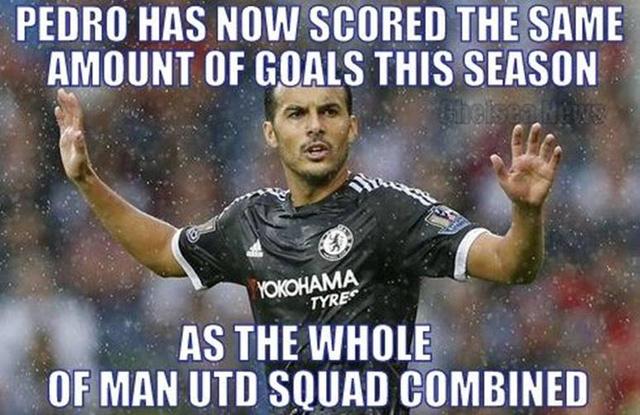Với bàn thắng đầu tiên cho Chelsea, Pedro thậm chí còn đã cân bằng số bàn thắng của cả đội hình Man Utd ghi được ở mùa giải này. Sau 3 trận, tiền vệ Adnan Januzaj là cầu thủ duy nhất thuộc biên chế Quỷ đỏ ghi bàn.