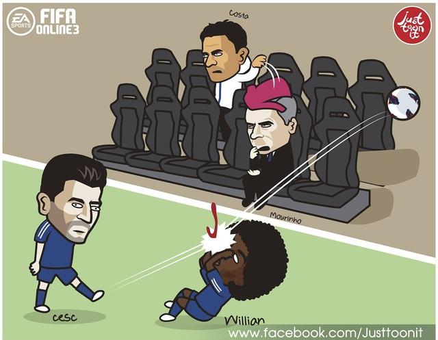 Việc bị đày đọa trên băng ghế dự bị khiến Diego Costa tức tối và ném thẳng áo tập về phía HLV Mourinho. Trên sân, Fabregas đang thể hiện phong độ tệ hại và anh đã có một cú sút vào mặt đồng đội trong trận gặp Tottenham