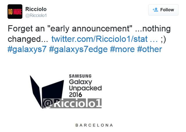 Galaxy S7 dự kiến sẽ ra mắt tại sự kiện ở Barcelona diễn ra vào ngày 21/2/2016
