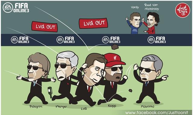 Trận hòa tẻ nhạt trước Leicester khiến các CĐV Man Utd mất kiên nhẫn trước ông thầy Louis Van Gaal. Người ủng hộ lối đá vô hồn của Man Utd lúc này có lẽ là HLV các đội khác. Trong khi đó, Vardy đã được Van Nistelrooy khen ngợi với kỷ lục 11 trận ghi bàn liên tiếp tại NHA