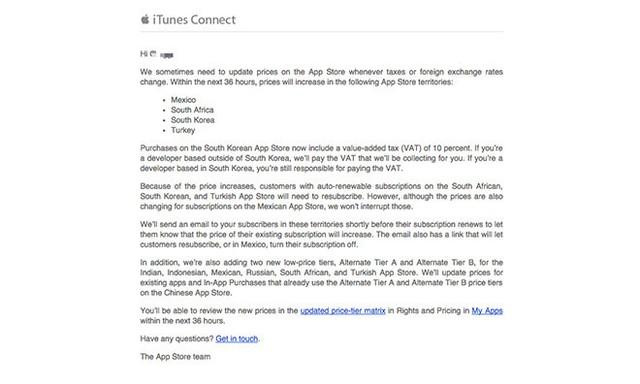 Thông báo được Apple gửi tới các nhà phát triển