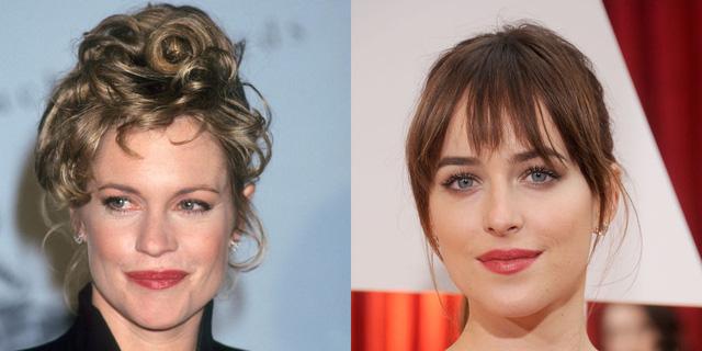 Ngôi sao 50 sắc thái Dakota Johnson giống hệt mẹ mình - bà Melanie Griffith hồi còn trẻ, từ khuôn miệng đầy đặn, chúi mũi thon gọn và đôi mắt hút hồn