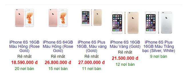 Giá bán gợi ý của bộ đôi iPhone 6S và iPhone 6S Plus trên Google