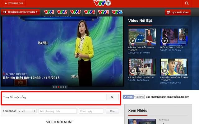 Ở trang TV&Video, độc giả gõ tên chương trình Thay đổi cuộc sống ở phần tìm kiếm.