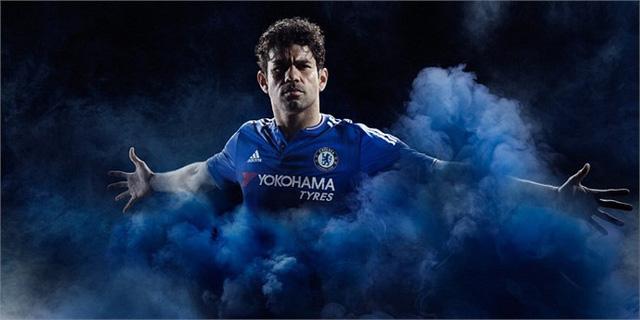 """Tiền đạo Diego Costa """"đứng đầu"""" màn ra mắt áo đấu khá ấn tượng. Ngoài ra những người được mời chụp hình và xuất hiện trong promo quảng cáo là Oscar, Terry, Hazard, Courtois, Willian, Loftus-Cheek"""