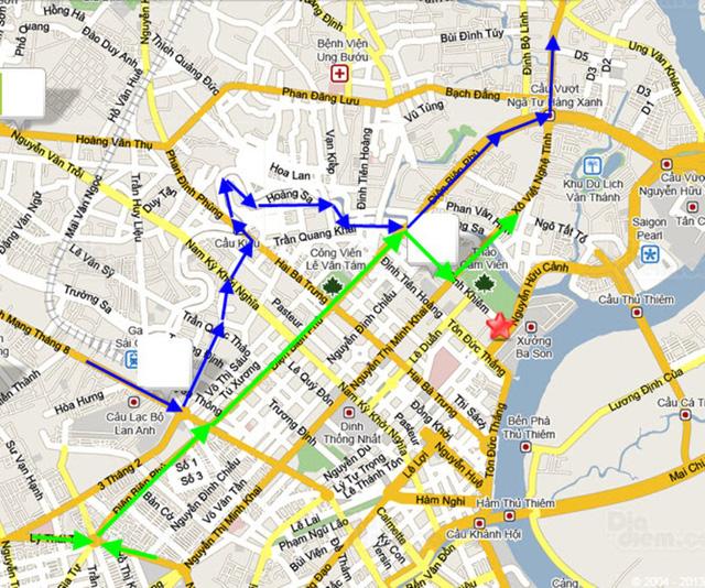 Lộ trình cho các loại phương tiện lưu thông từ hướng quận 10 và quận 5 về quận Bình Thạnh