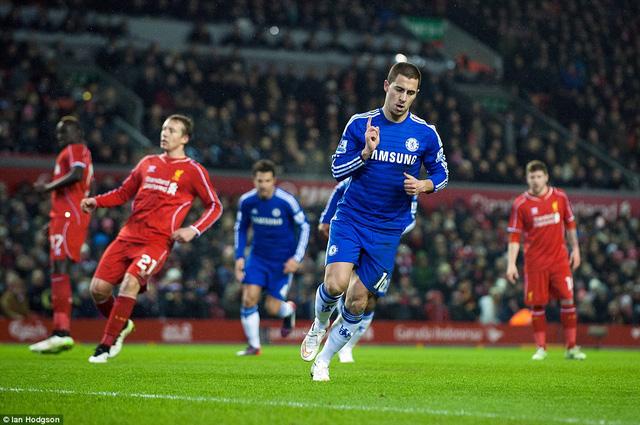 Eden Hazard mở tỷ số cho Chelsea từ chấm phạt đền ở phút 18