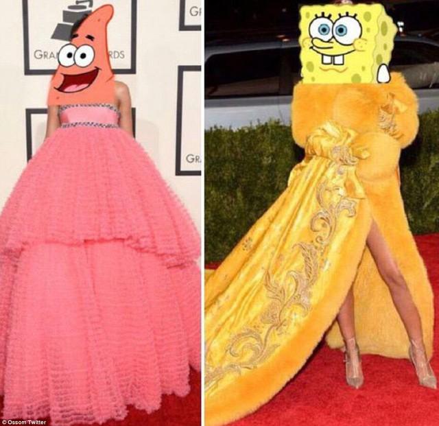 Một người khác biến Rihanna trở thành hai nhân vật đáng yêu trong bộ phim hoạt hình SpongeBob Squarepants. Bộ cánh bên trái được Rihanna diện trong lễ trao giải Grammy 2015.