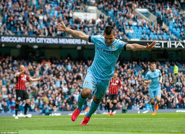 Aguero mở tỷ số cho Man City ngay phút thứ 4.