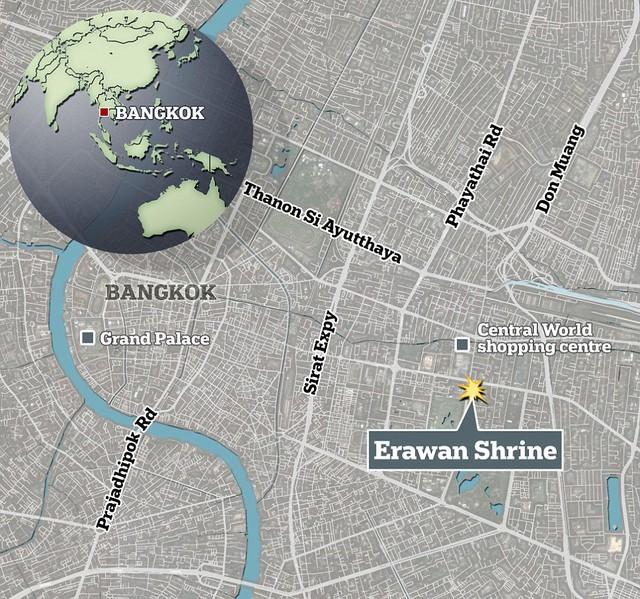 Nơi xảy ra vụ nổ bom tại Bangkok (Ảnh: Mail Online)