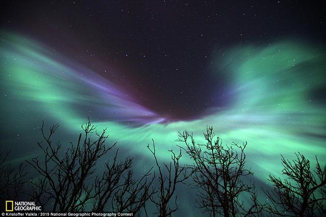 Bức ảnh Angel in the sky được nhiếp ảnh gia chụp tại phía Bắc Estonia.