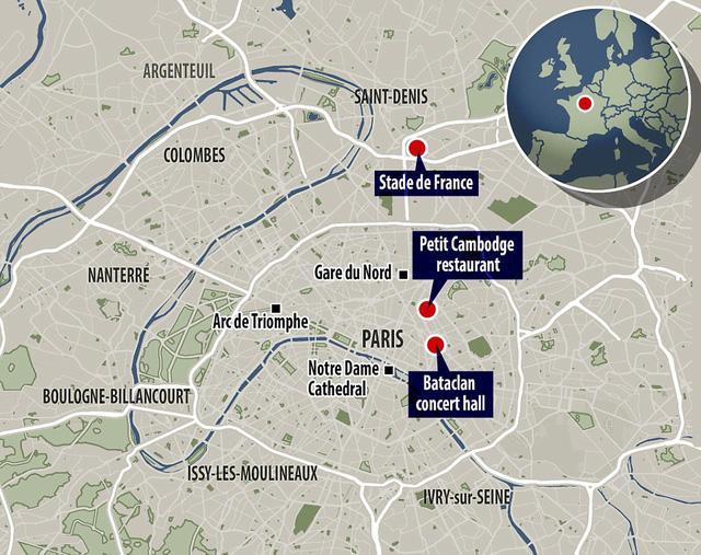 Ba địa điểm xảy ra các cuộc tấn công khủng bố