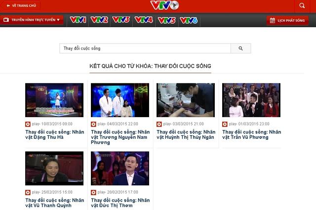 Sau khi ấn vào biểu tượng tìm kiếm, những Video số phát sóng của chương trình sẽ hiện ra như ảnh.
