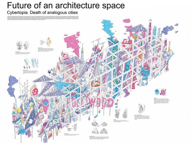Giải ba: Thiết kế Cybertopia của kiến trúc sư người Nga, Egor Orlov là một tổ hợp vui chơi giải trí, được xây dựng hoàn toàn bằng công nghệ in 3D