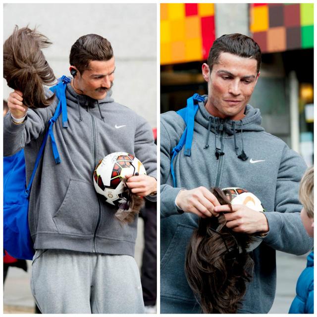 Sự thích thú của cậu bé khi C.Ronaldo cởi bỏ lớp hóa trang