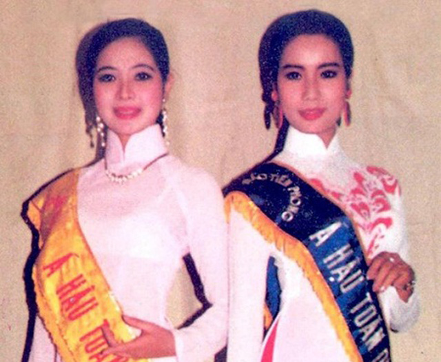 Á hậu Trịnh Kim Chi và Á hậu Tô Hương Lan tại cuộc thi Hoa hậu năm 1994.
