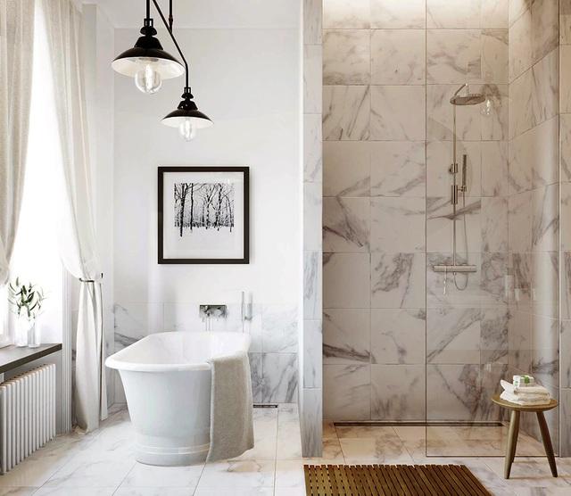 Những phòng tắm sử dụng chất liệu đá hoa cương luôn mang tới một vẻ đẹp nhẹ nhàng, thanh tao