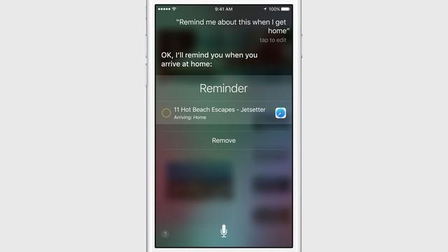 Tính năng nhắc nhở của Siri