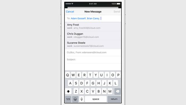 Siri đưa ra gợi ý thêm người nhận