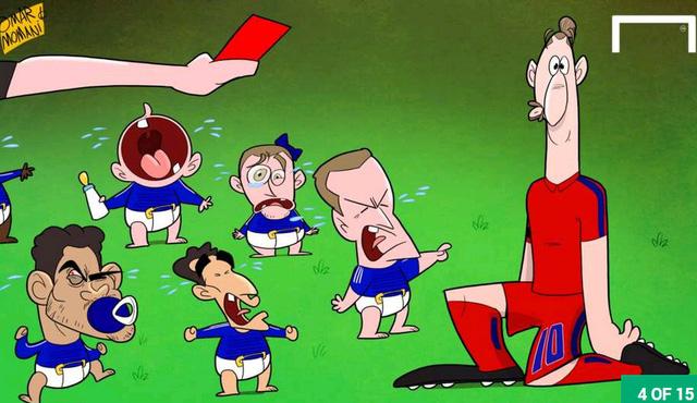 Các cầu thủ Chelsea như lũ trẻ bám riết lấy trọng tài ăn vạ đòi phạt thẻ đỏ với Ibrahimovic