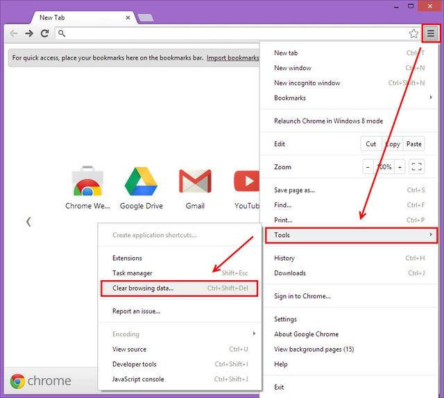 Nhấn vào Tools, chọn Clear Browsing Data