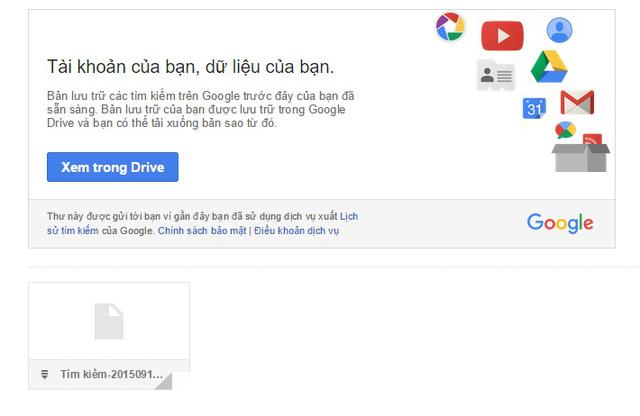 Tải về bản sao lưu thông qua liên kết trong email Google gửi tới người dùng