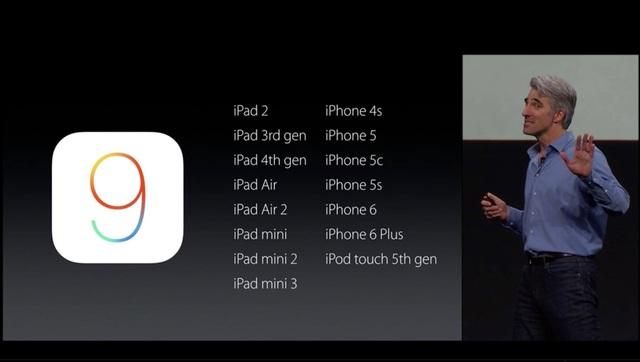 iOS 9 hỗ trợ tất cả các sản phẩm của Apple
