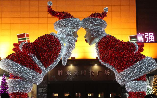 Không khí và màu sắc Noel ở một trung tâm mua sắm tại Trung Quốc