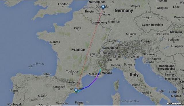 Bản đồ đường đi của máy bay gặp nạn.