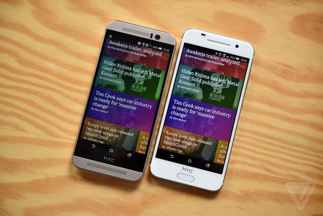 HTC One M9 (trái) và HTC One A9 (phải) (Ảnh: The Verge)