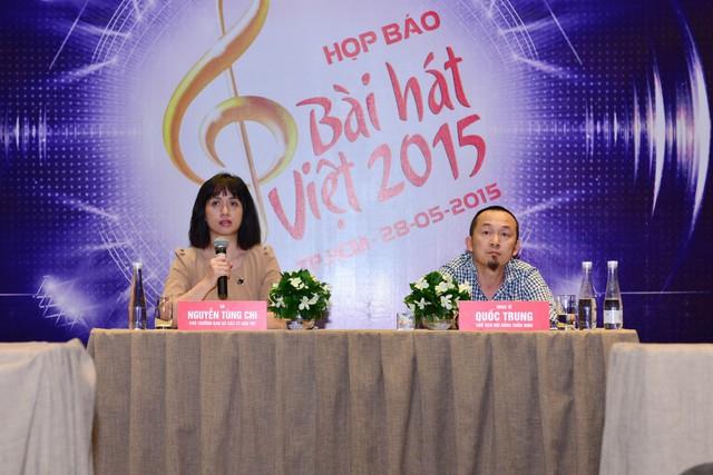 Nhà báo Nguyễn Tùng Chi - Phó Trưởng ban Sản xuất các chương trình Giải trí và nhạc sĩ Quốc Trung - Chủ tịch Hội đồng thẩm định chương trình Bài hát Việt 2015.