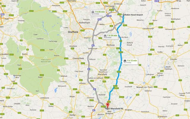 Đường oto từ sân bay vào trung tâm thành phố theo Bản đồ Google. Ảnh: Ảnh: AP/FOTOLIA